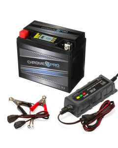 YTX12-BS iGel Powersport Battery with 1 amp Smart Battery Charger- Bundle of 2 items