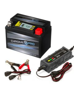 YTX4L-BS iGel Powersport Battery with 1 amp Smart Battery Charger- Bundle of 2 items