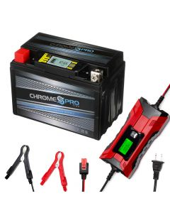 YTX9-BS iGel powersport battery with 2/4 amp smart battery charger- Bundle of 2 items