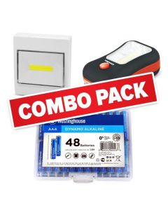 Everyday Household Combo Pack- Includes 48AAA Alkalines, 2 in 1 Flashlight, and Multipurpose Flashlight